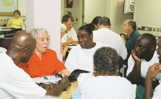 Photograph of Yokefellow Prison Ministry smalls groups in a prison